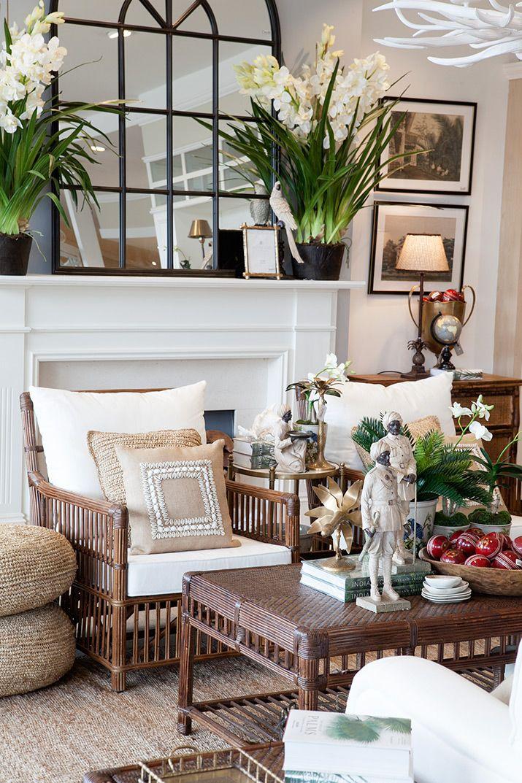 Brown rattan Bermuda armchair and coffee table  BRITISH