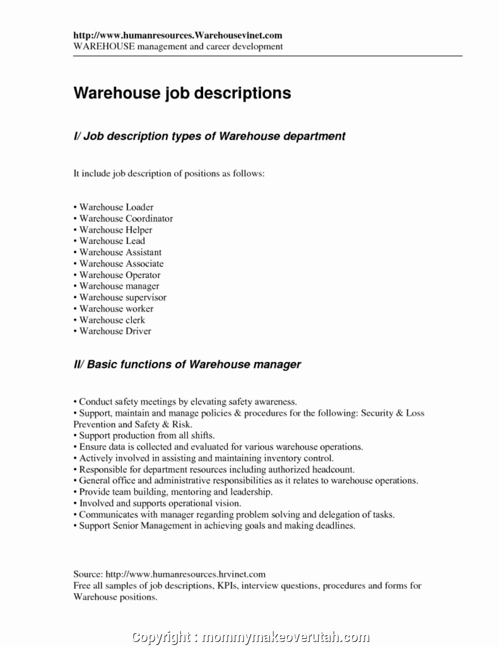 20 Warehouse Job Description Resume in 2020 (With images