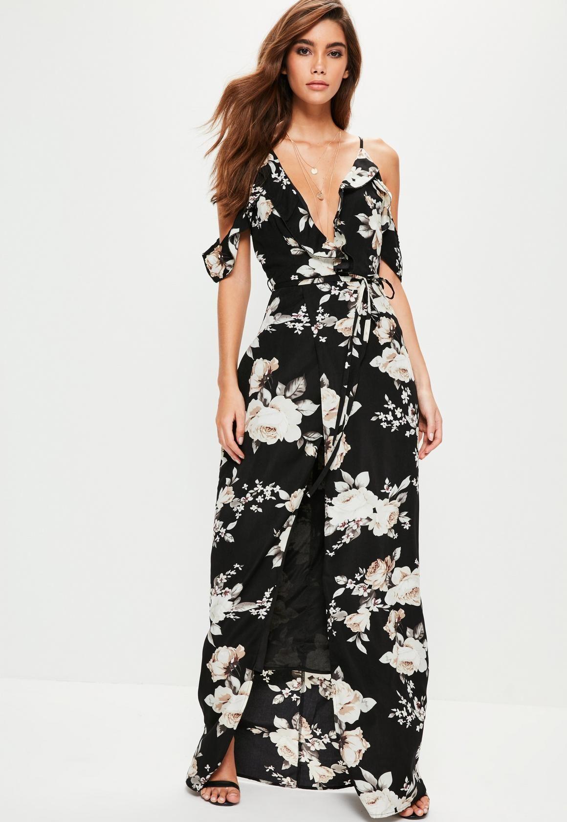 5a4c28114c8e Missguided - Black Floral Cold Shoulder Maxi Dress