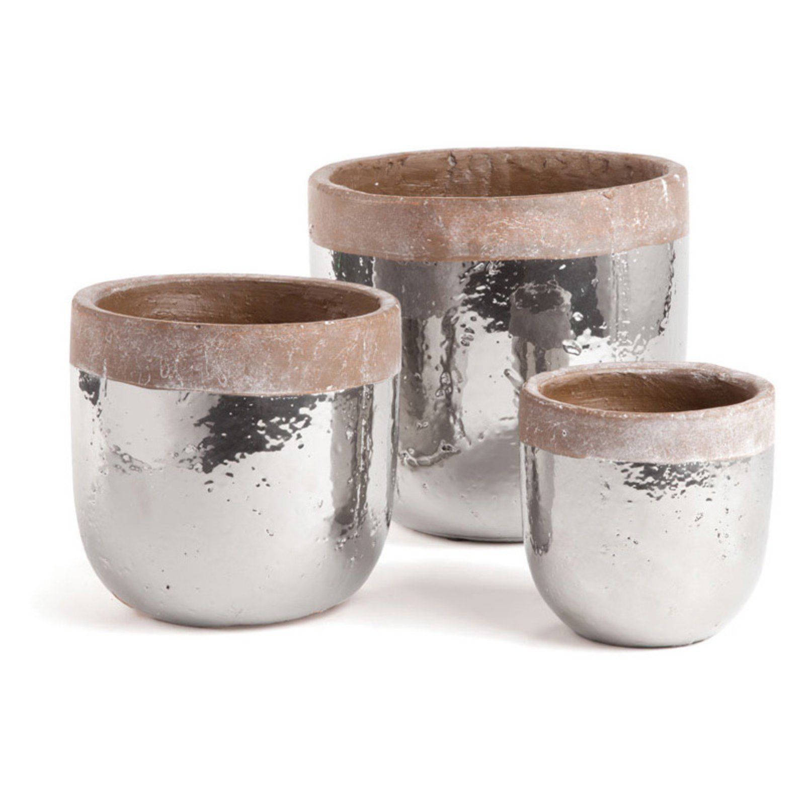Napa Home and Garden Round Sterling 3 Piece Pot Planter