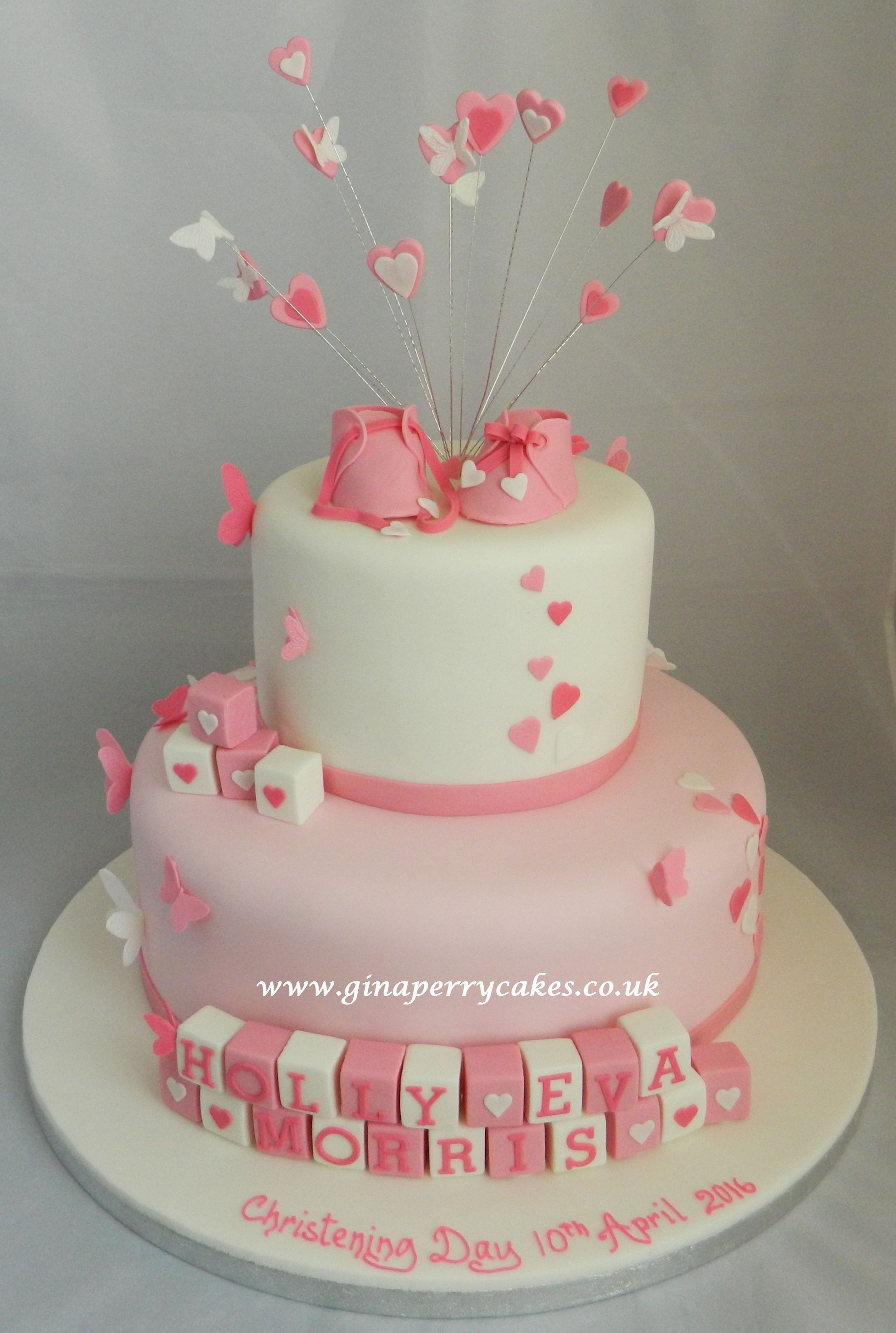 Christening Cake For A Baby Girl Withbutterflies Hearts
