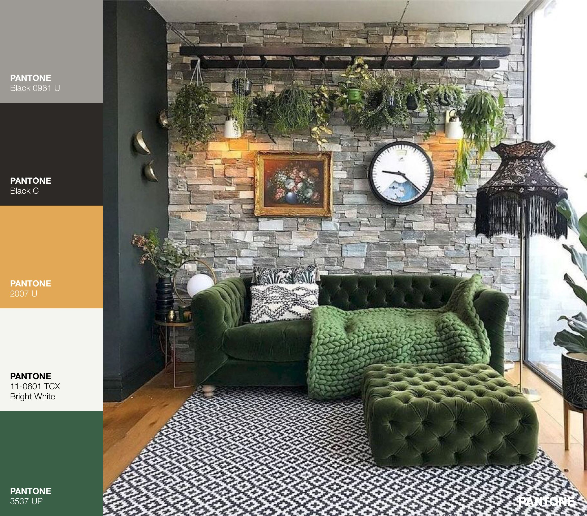 Living Room Furniture And Dark Green Walls In Medium Gray