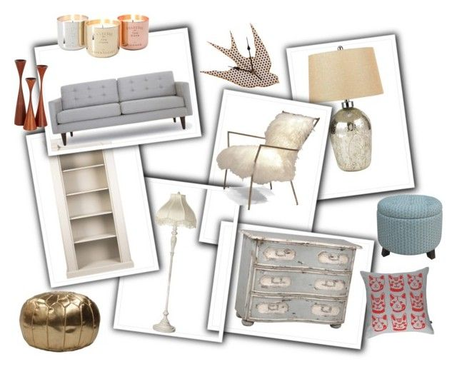 """""""Living Room"""" by abigailneighbour ❤ liked on Polyvore featuring interior, interiors, interior design, home, home decor, interior decorating, Cal Lighting, Threshold, Shabby Chic and Joybird"""