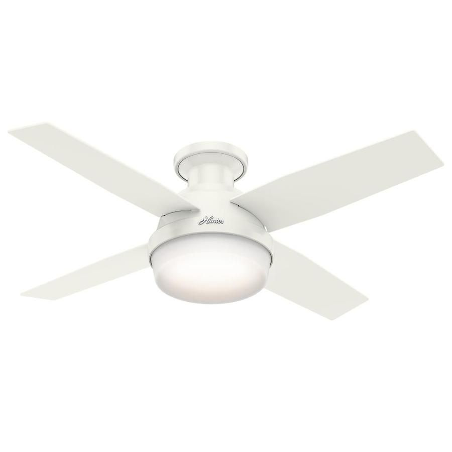Hunter Dempsey 44 In Fresh White Flush Mount Indoor Residential Ceiling Fan With Light Kit Remote 4 Blade