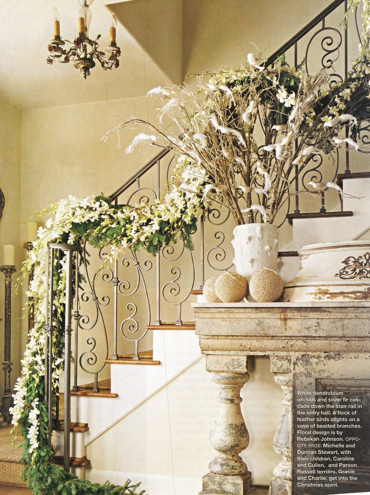 Christmas Staircase Decorations | White dendrobium orchids and ...
