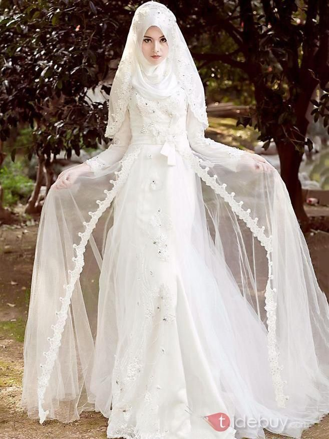 Robe De Mariee Musulmane Arabe Elegante Manches Longues En