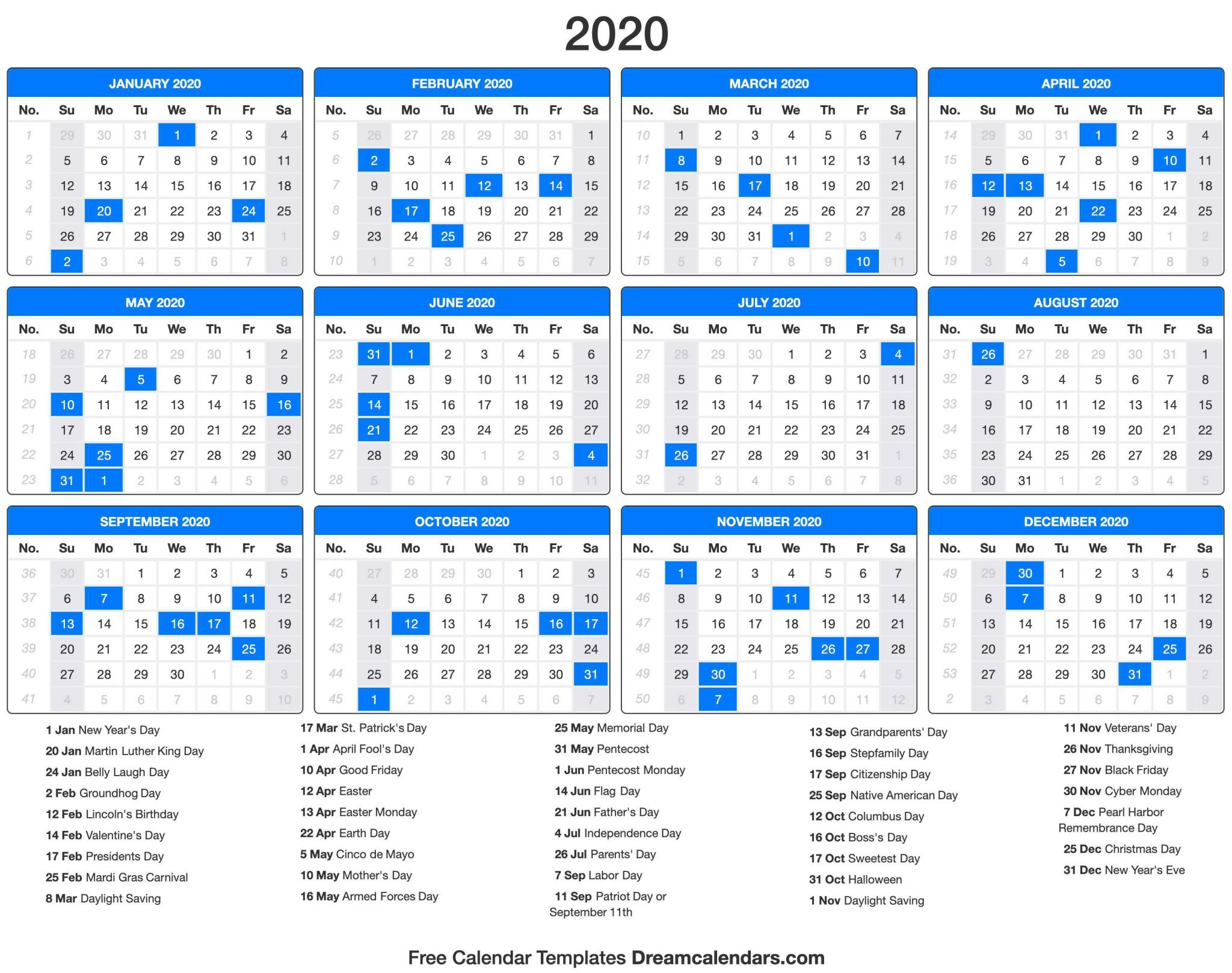 2020 Printable Calendar With Holidays Di 2020