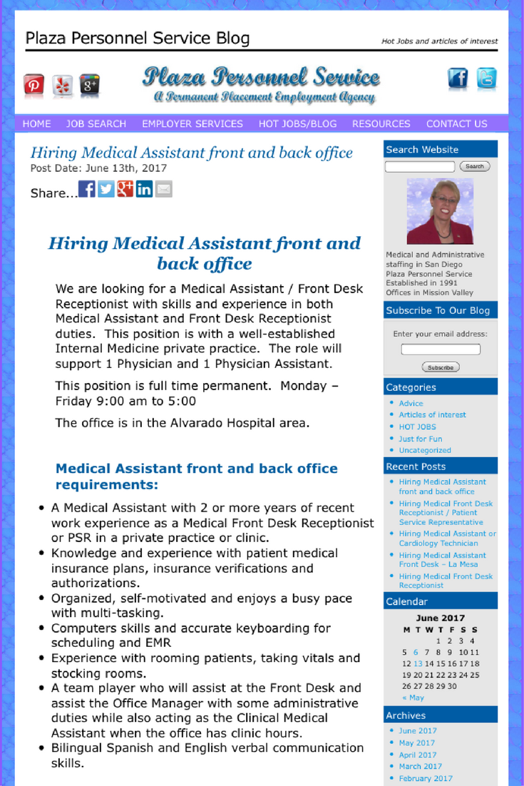 We Are Hiring A Medical Assistant To Support An Internal Medicine And His Patients In A Private Practice Medical Receptionist Assistant Jobs Medical Assistant
