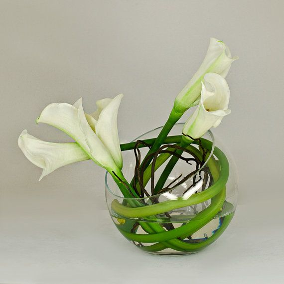 Back Order   Real Touch Calla Lily Arrangement W/ White Calla Lilies  Artificial Flowers In Round Glass Vase For Artificial Faux Arrangement