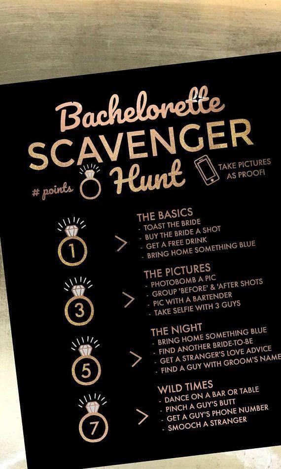 Photo of Schwarz und Gold Bachelorette Party Game   Bachelorette Party Schnitzeljagd Aktiv …