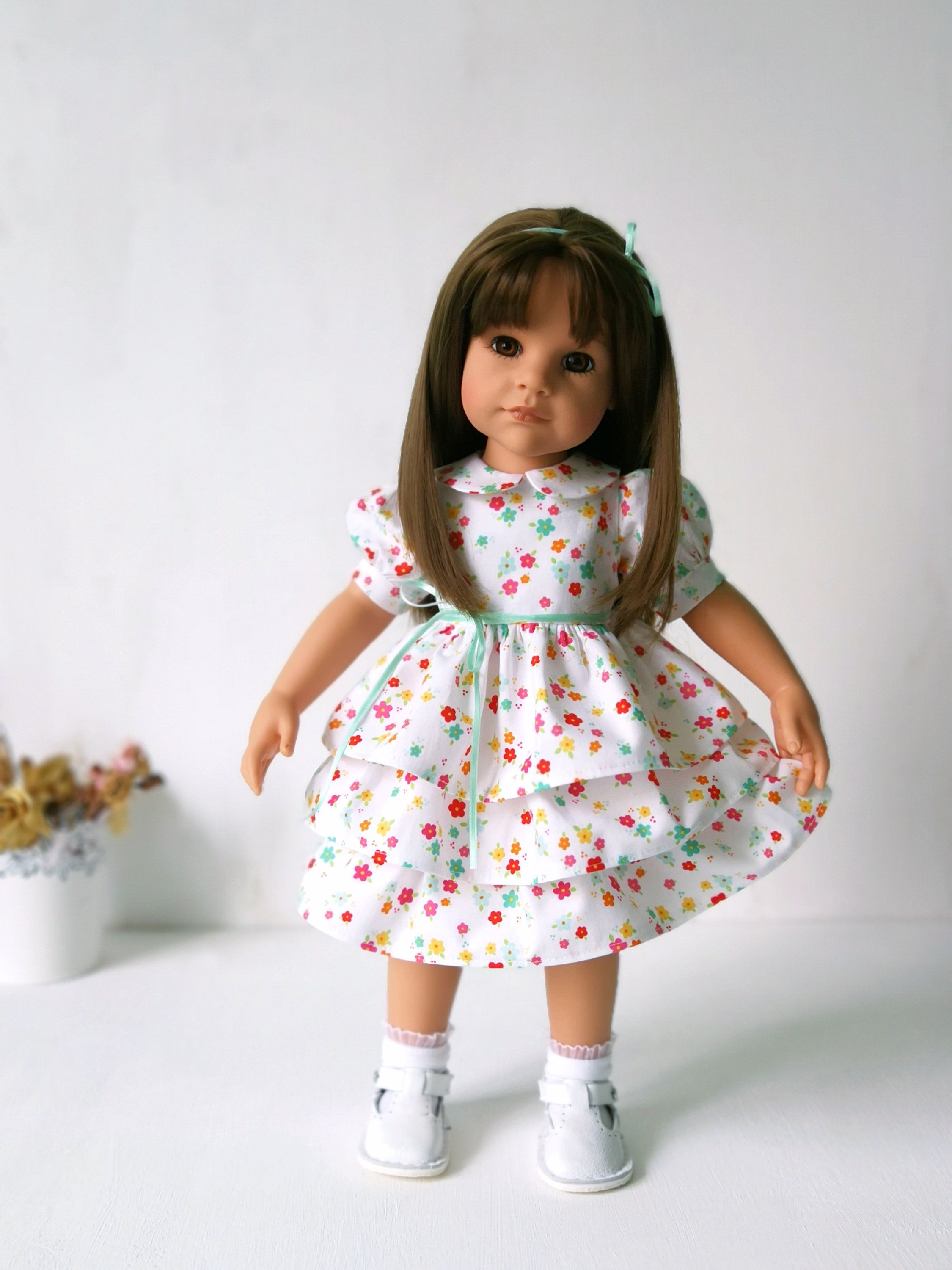 White dress with floral print for Gotz dolls /Gotz doll clothes /Doll dress /18 inch doll dress #18inchdollsandclothes