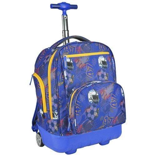 S Blue Football Themed Rolling Backpack Helmet Sports Pattern Suitcase Kids School Bag Duffel Wheels