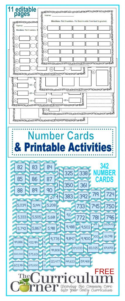 Number Cards & Printable Activities | Curriculum, Math and Number