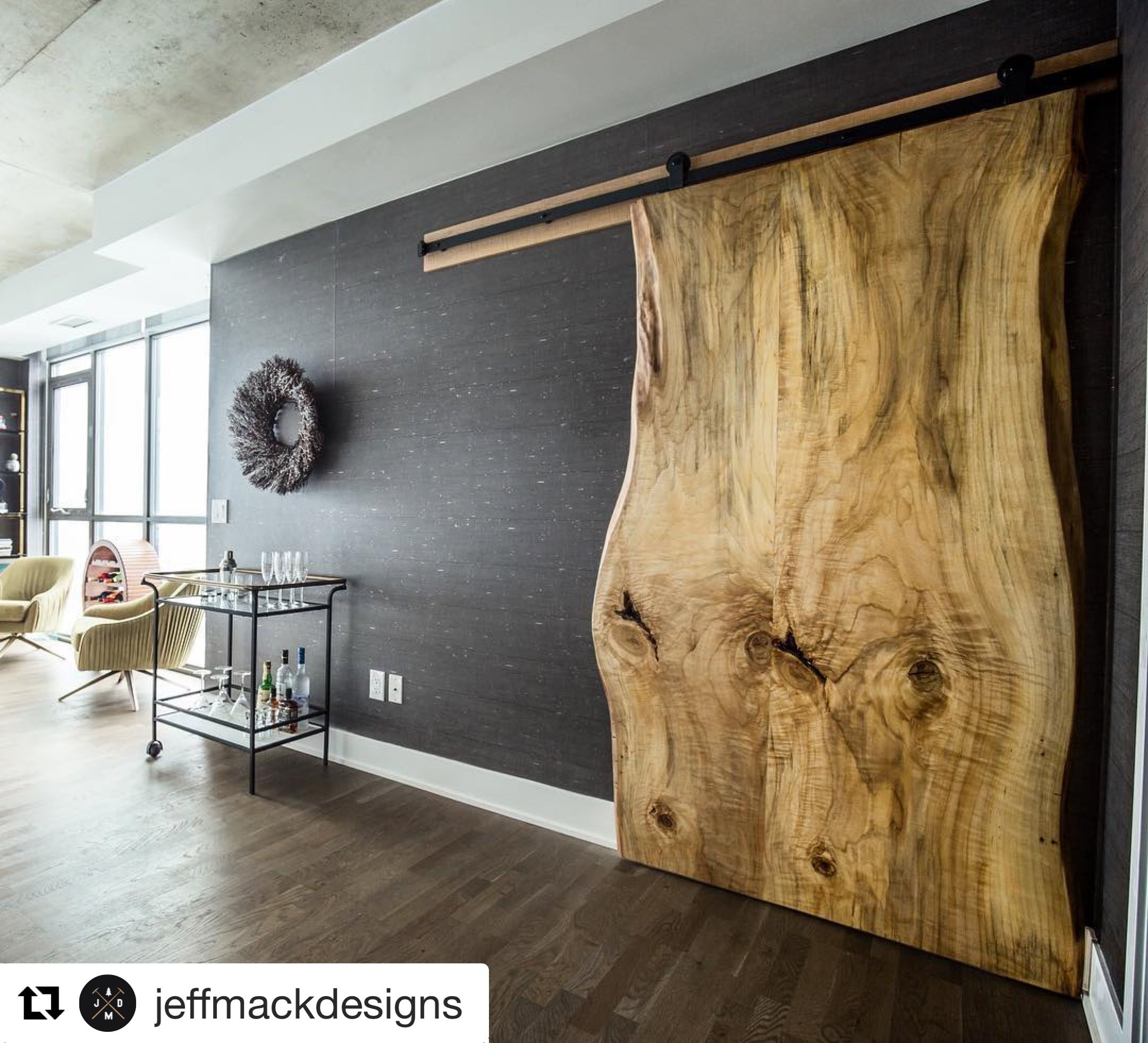 We are loving this live edge sliding door by jeffmackdesigns