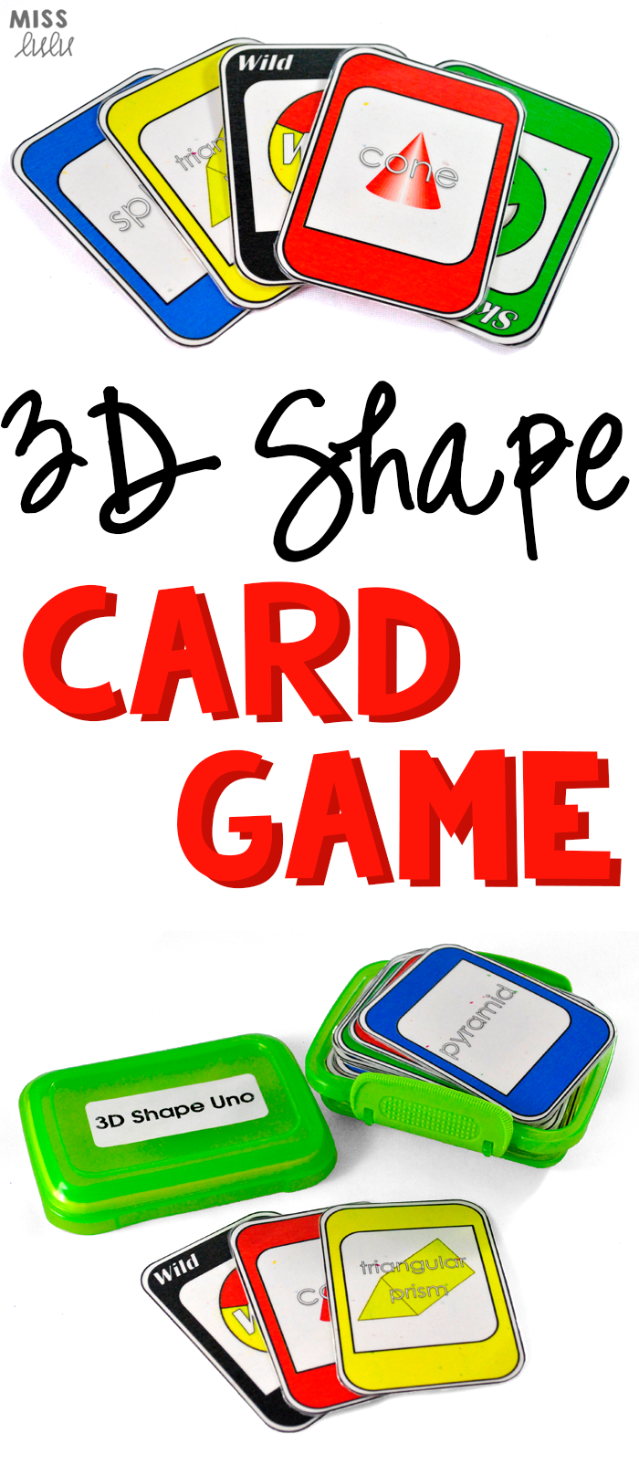 3D Shape Identification Card Game Card games, Math card