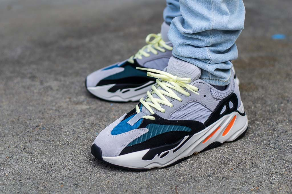 2de868ed5 See how the Adidas Yeezy Boost 700 Waverunner look on feet in this video  review. Find out where you can buy these Adidas Yeezy 700s online!