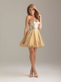 Funky Gold Sequin Sweetheart Strapless Short Ball Gown Cocktail Prom Dress  Junior Bridemaid