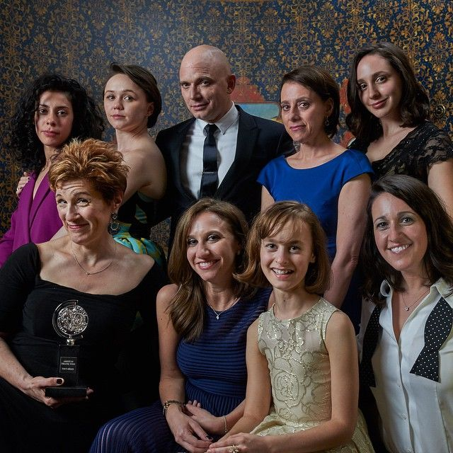Welcome to Fun Home. The team of the Tony Award-winning Best Musical Fun Home celebrates in the #TodayTix Tony Awards photo lounge at the O&M after-party at The Carlyle. Photo by Amy Arbus.