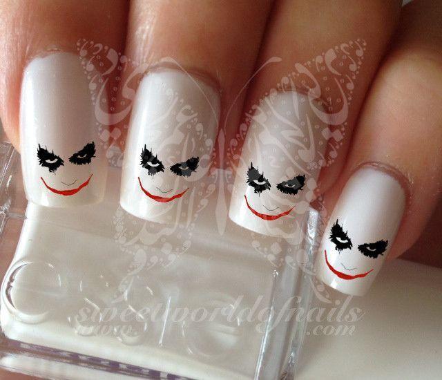 Halloween Nail Art Joker Face Nail Water Decals Water Slides | Joker ...