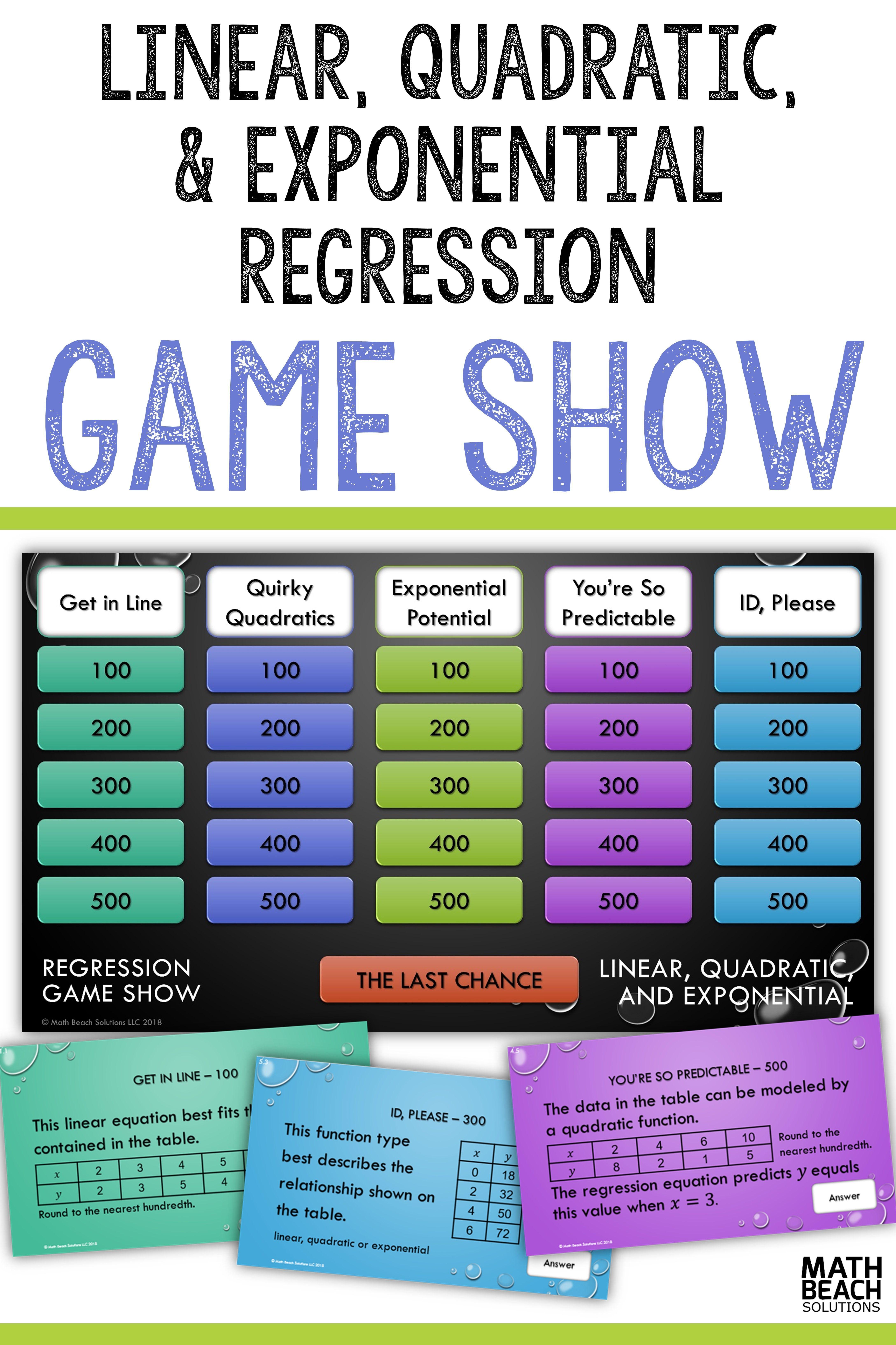 Regression Game Show Activity | High School Math Teachers