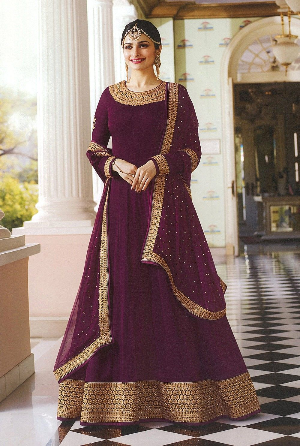 8fb956900 Wine color fron open Indian designer anarkali suit with pants in ...