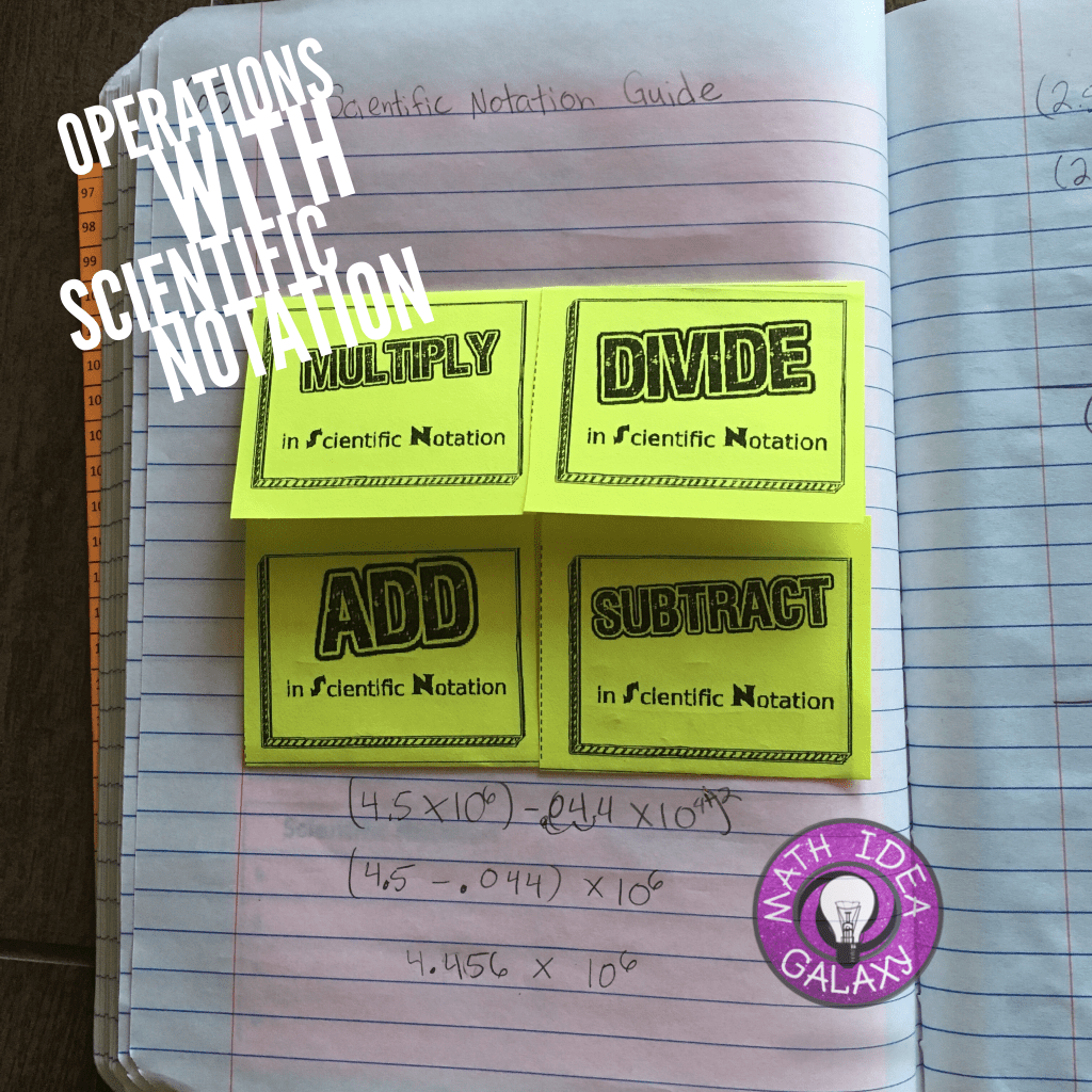 Operations With Scientific Notation Foldable Notes Grade