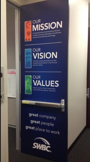 Mission, Vision, and Values door signage. (With images ...