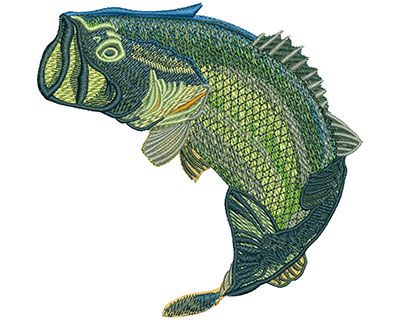 Large Mouth Bass Fish Jumping Machine Embroidery Design Or Pattern