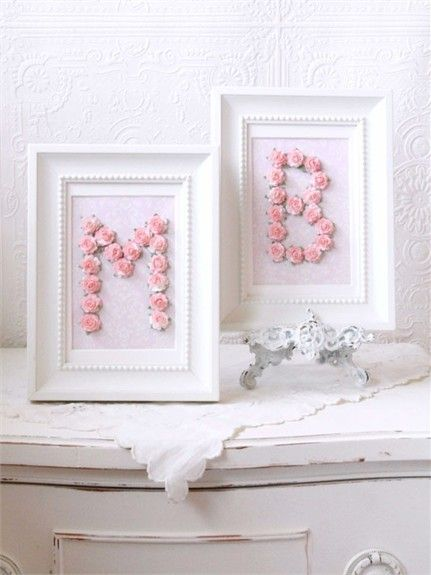 Pink Rose Personalized Initial Frame, Picture Frames,Personalized ...