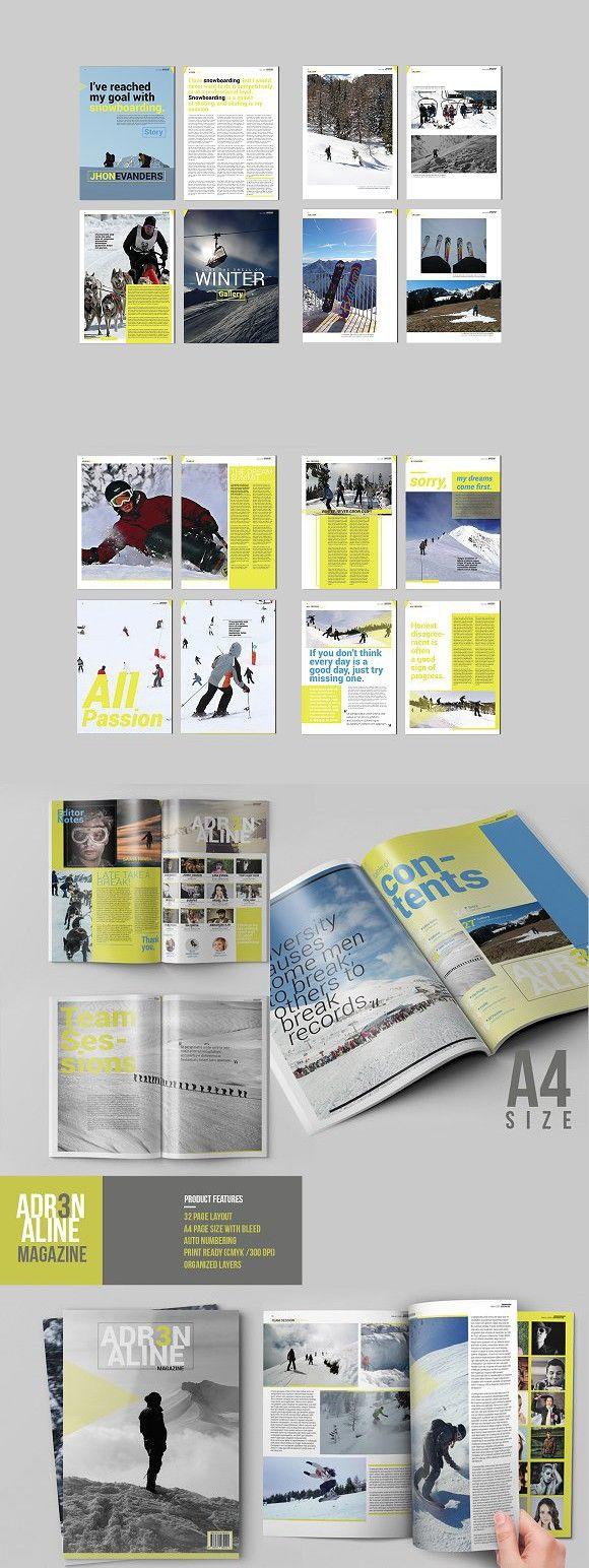 Adrenaline Magazine Template | Folletos y Revistas