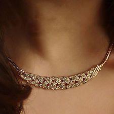 Unique Jewelry - Fashion Charm Jewelry Chain Pendant Crystal Choker Chunky Bib Necklace Gold