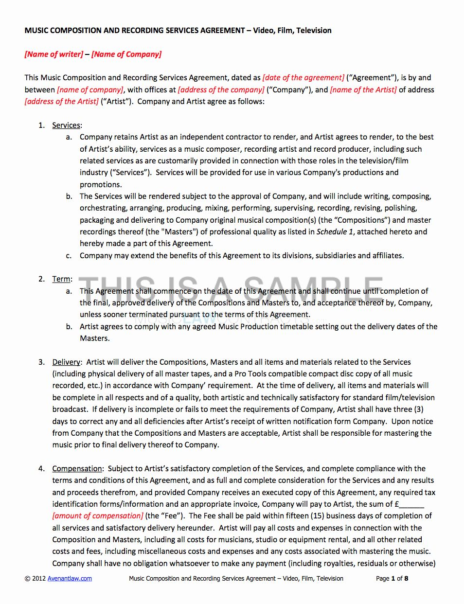Music Producer Agreement Template In 2020 Contract Template