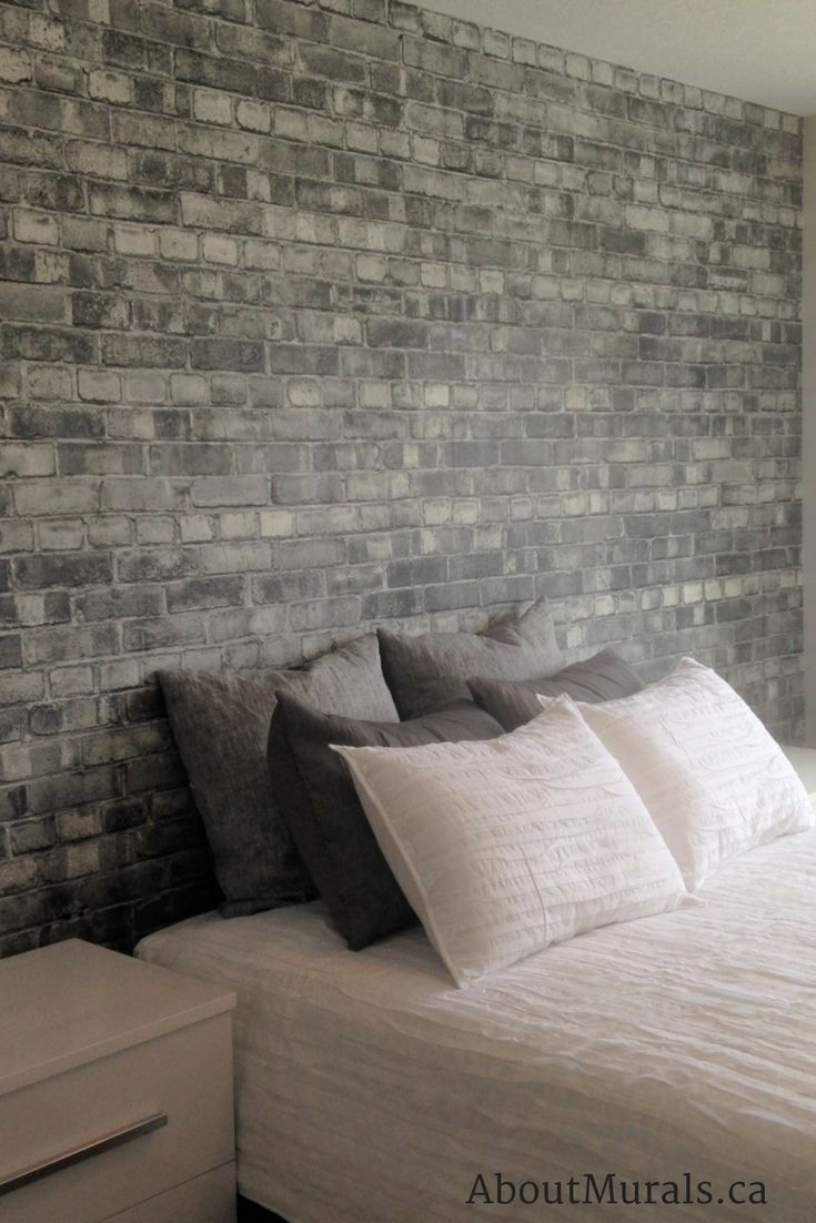 Ooh Loving My Grey Brick Wallpaper In This Customer S Bedroom Sooo Light And Airy Looking Brick Wallpaper Bedroom Wallpaper Bedroom Faux Brick Wallpaper