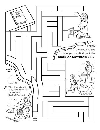 A maze activity showing a girl praying and other scenes
