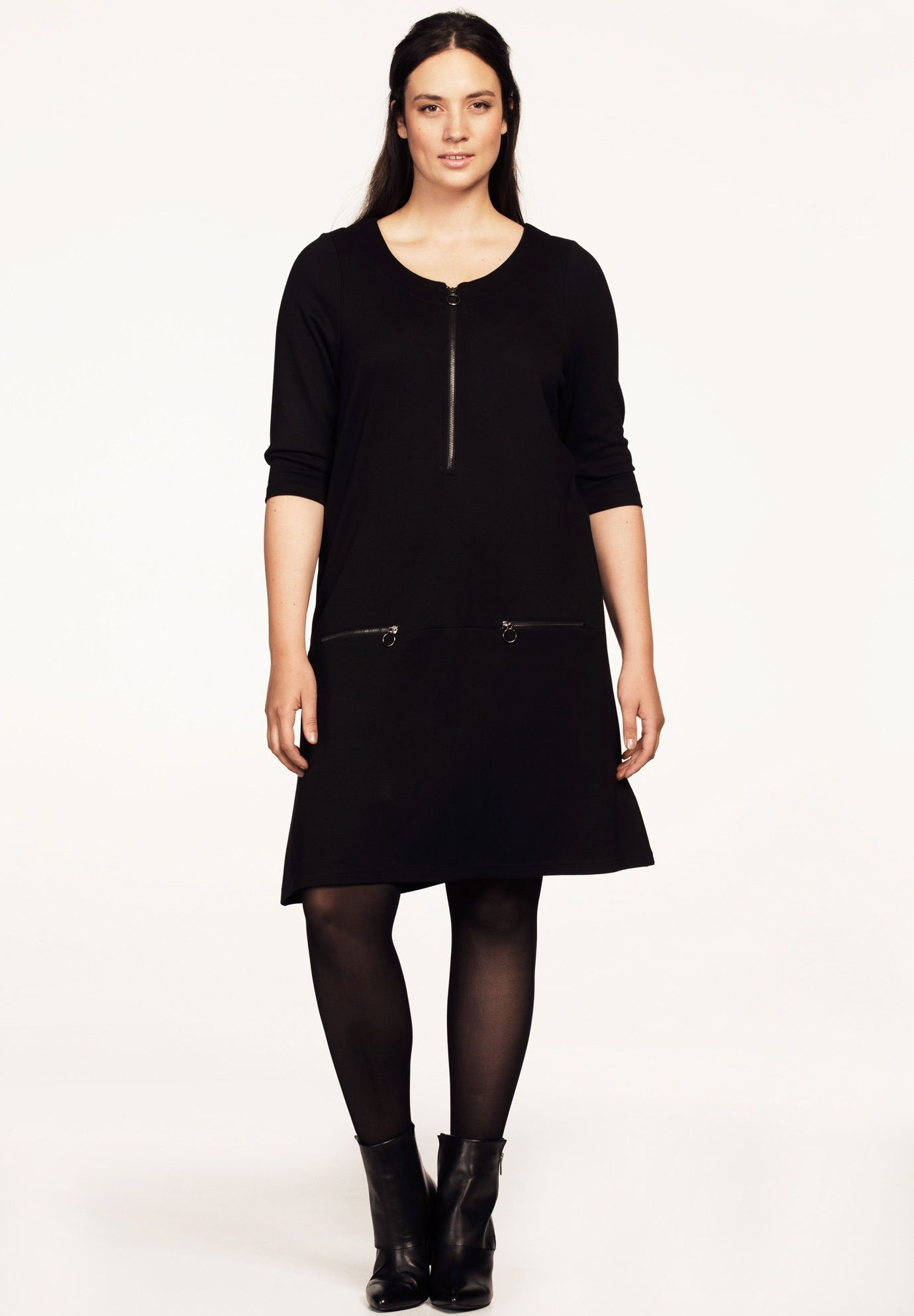 Zip Front 3 4 Sleeve Dress by ellos Women s Plus Size Clothing