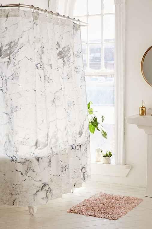 Black White Marble Shower Curtain