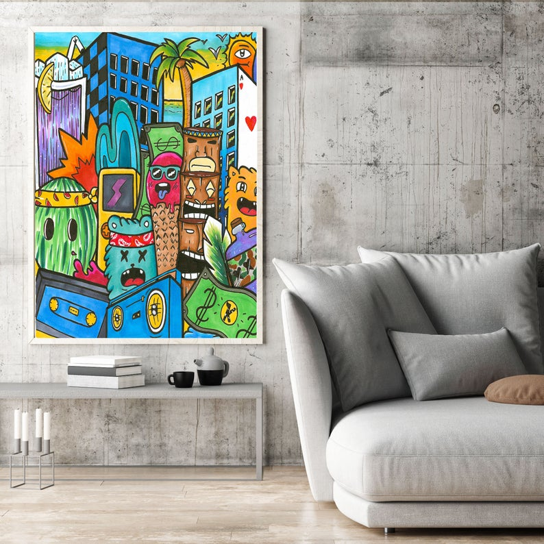 Pop Art Canvas Colorful Wall Art Oversize Art Print Wall Art