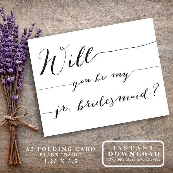Jr. Junior Bridesmaid Card Printable Will You By