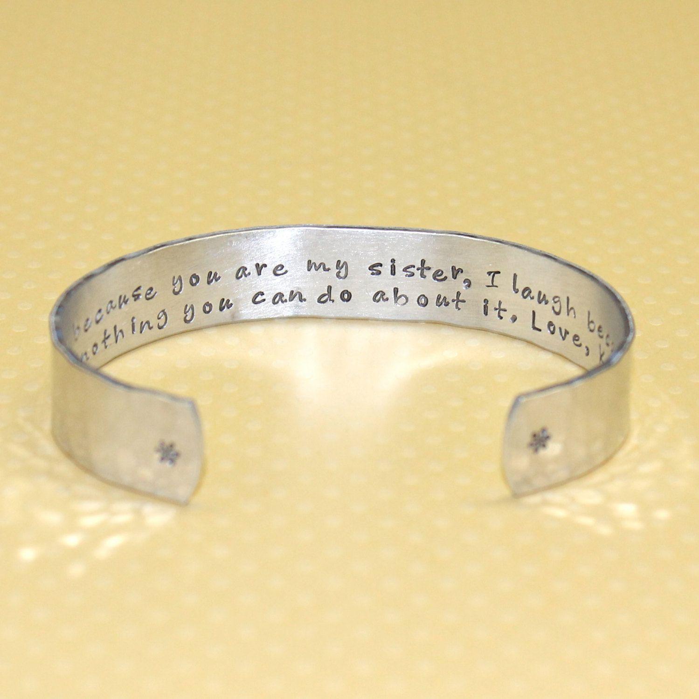 Sister Gift - Sister Secret Message Cuff Bracelet by Korena Loves. $25.00, via Etsy.