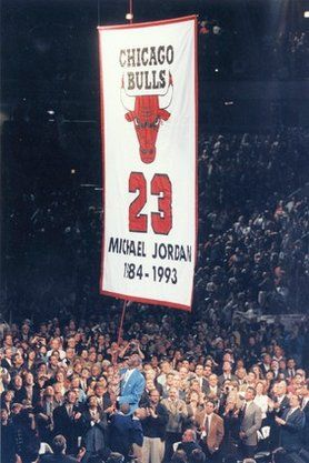 quality design 50f11 1df72 They raise Michael Jordan s jersey for his retirement ceremony at the  United Center.
