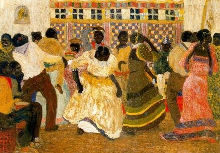 Pedro Figari's art: Candombe The word candombe comes from the prefix Ka and the word Ndombe in Kimbundu language. This language belonged to the Bantu tongues that were spoken in Congo, Angola and other parts of southern Africa. The word was introduced by the population from Benguela in Angola, which were the principal Ndombe people among African ethnic groups in Montevideo.