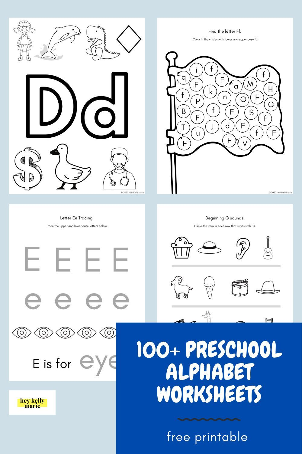100 Free Alphabet Worksheets For Letter Recognition And Sounds Hey Kelly Mar In 2020 Alphabet Worksheets Alphabet Worksheets Preschool Printable Alphabet Worksheets