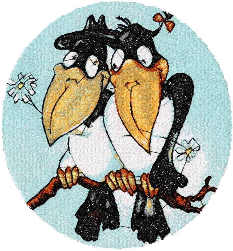 Two Loving Crows Photo Stitch Free Embroidery Photo Stitch
