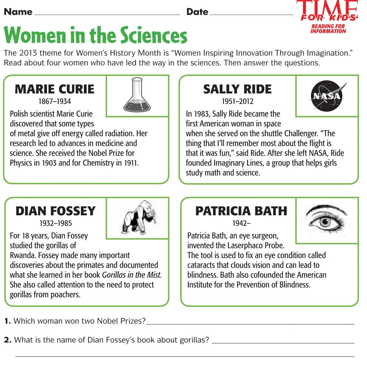 Women S History Month Printables 8th Grade History Women In History History Worksheets