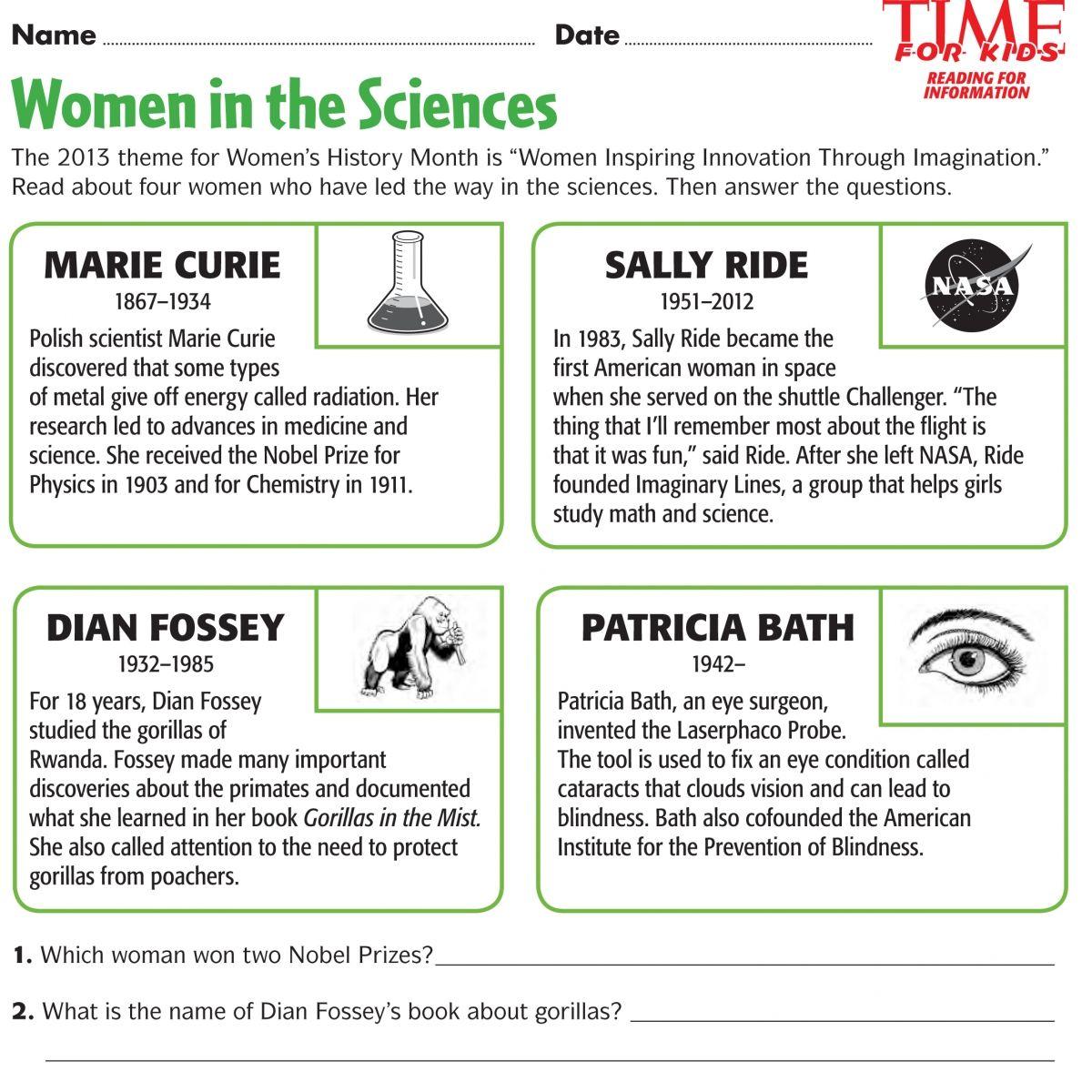 Women's History Month Printables   Aprender inglés [ 1200 x 1200 Pixel ]