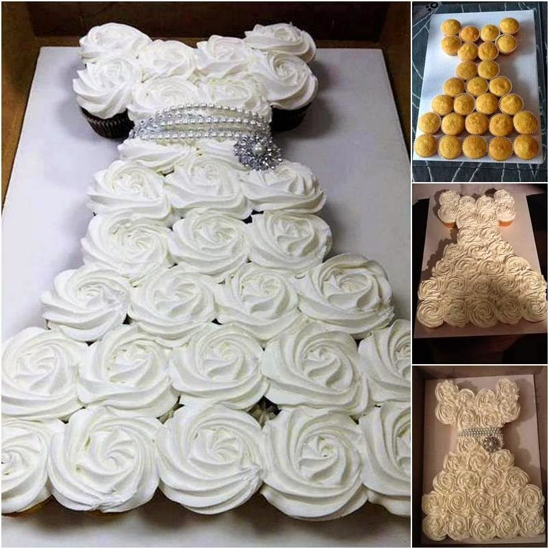 Tutorials For Pull Apart Cakes Are Simple All You Have To Do Is To Bake Cupcakes Arrange Them Bridal Shower Cupcakes Diy Wedding Cake Wedding Shower Cupcakes