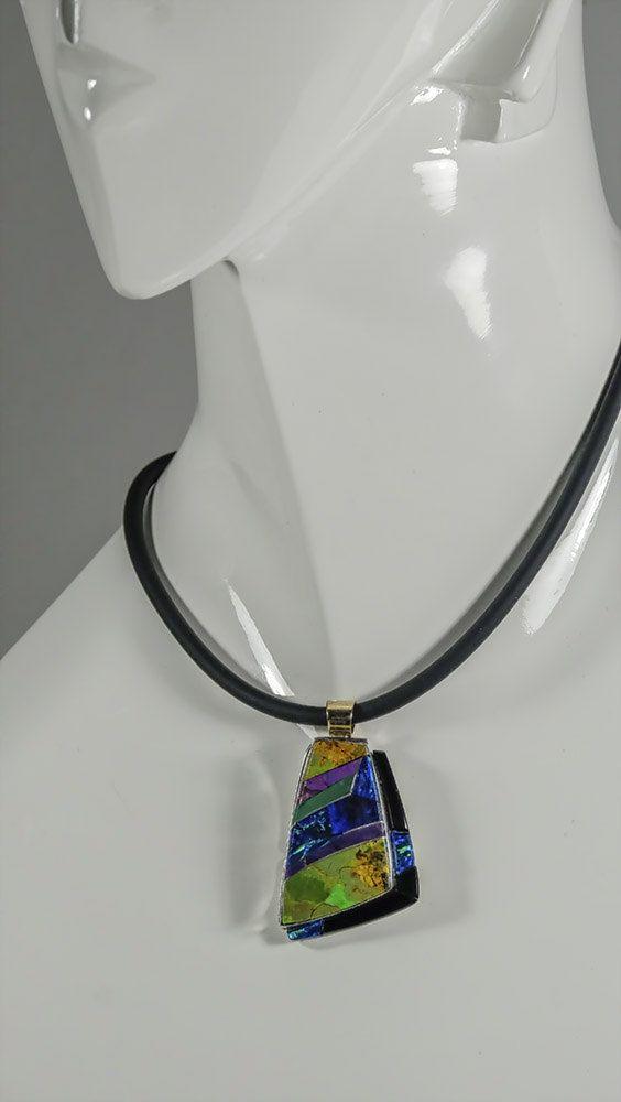 Inlaid intarsia pendant necklace / sugilite by IndigoArtsStudio