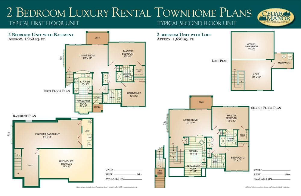 Large townhouse plans cedar manor luxury rental homes for Small basement apartment floor plans