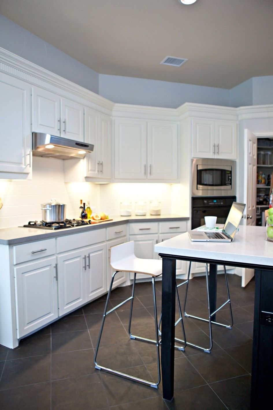 Kitchen Cool Black Ceramics Floor Tiles For With Unique Chair Stainless Steel