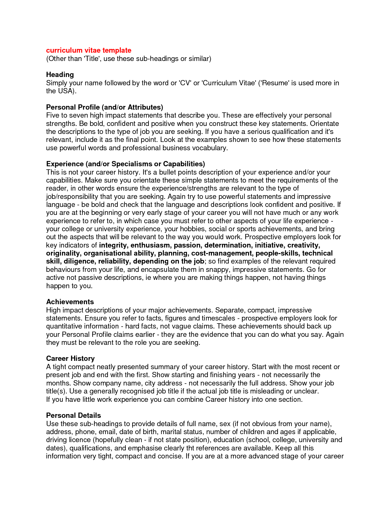 Curriculum Vitae Personal Statement Samples  HttpWww